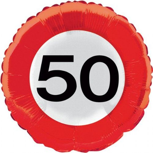 Traffic Sign 50th Party Foil Balloon Packet Birthday Helium Decoration